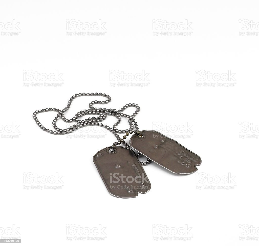 Classic dog tags on white royalty-free stock photo