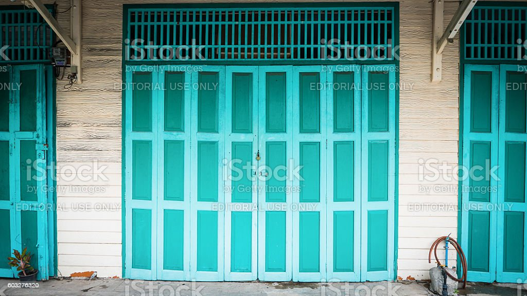 Classic door in chinatown (Yaowarat) Road stock photo