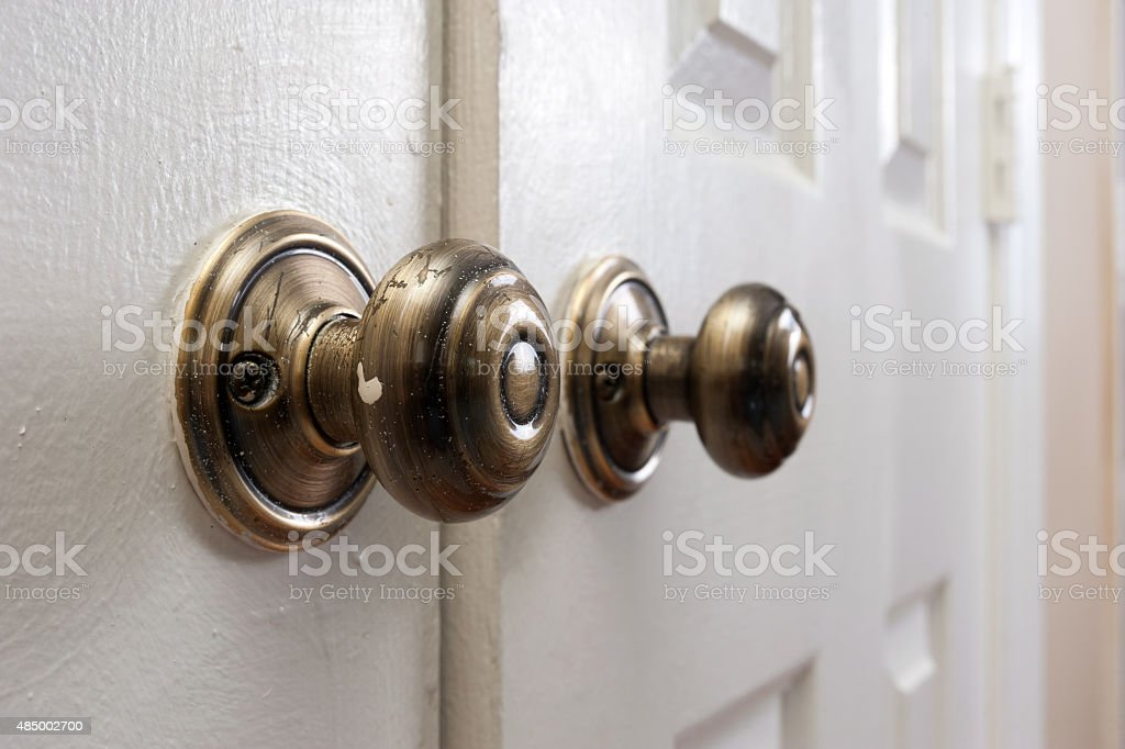 Classic door knob close up stock photo