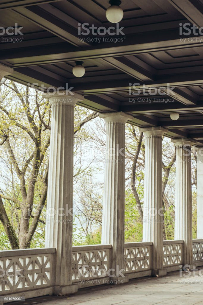 Classic Doric Columns in Riverside Park Manhattan NYC stock photo