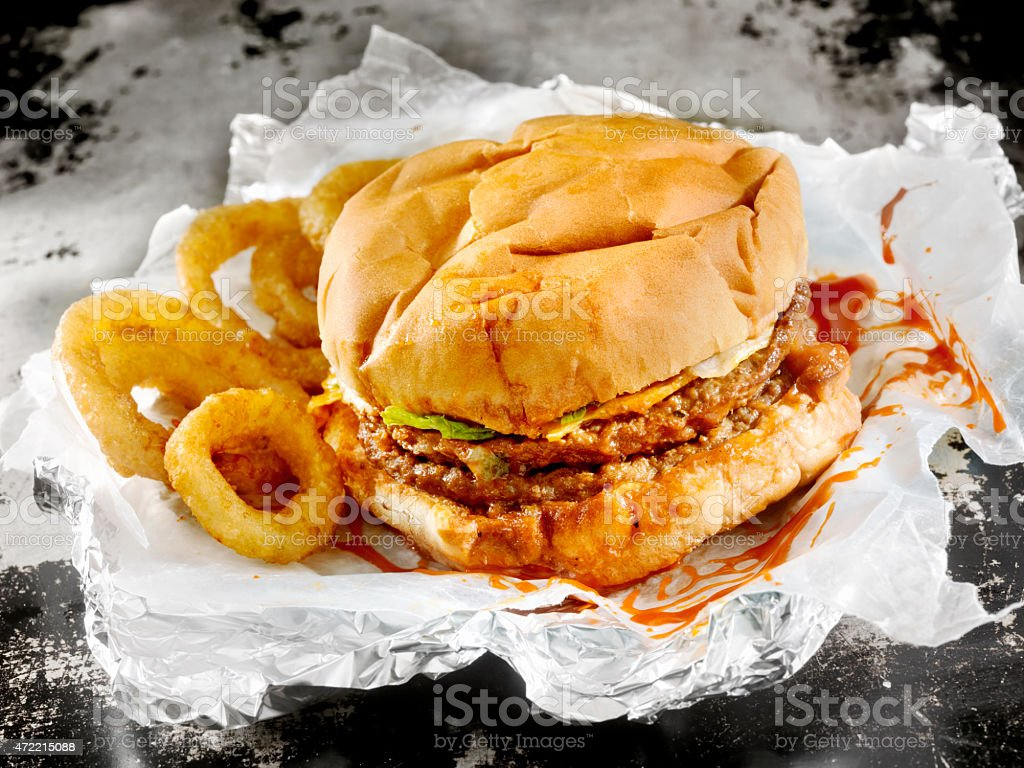 Classic Drive Thru Double Cheeseburger stock photo