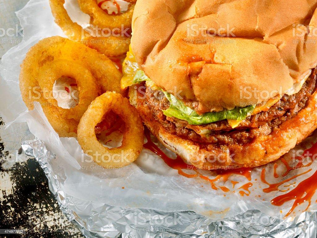 Classic Drive Thru Double Cheeseburger stock photo