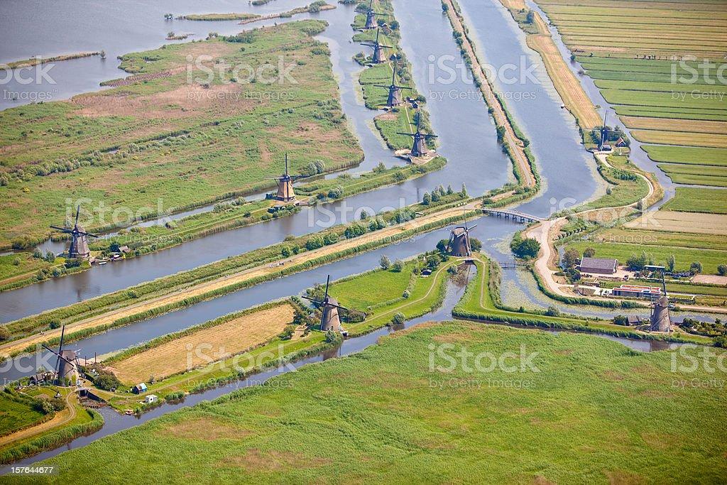 Classic Dutch windmill scene stock photo