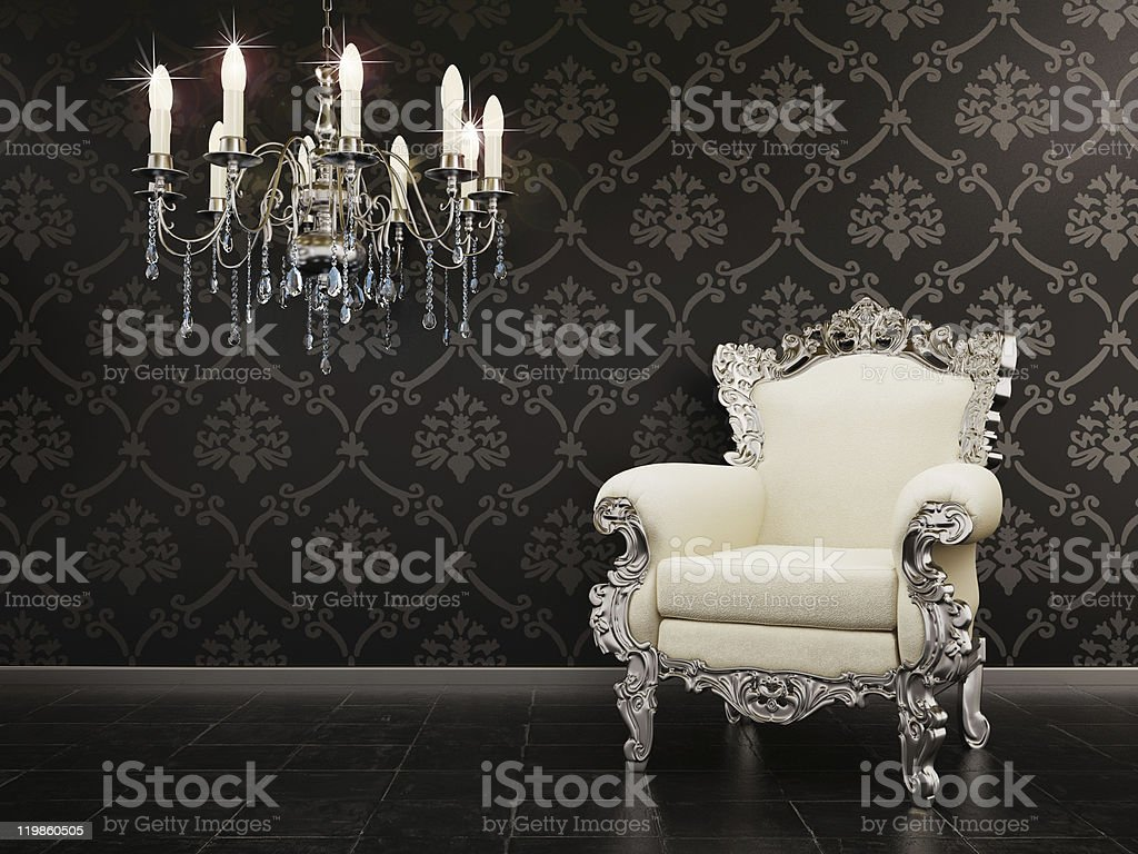 Classic fancy room with a chair and vintage wallpaper stock photo