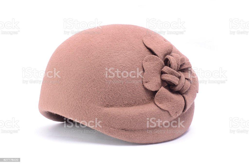 classic female hat isolated on white stock photo