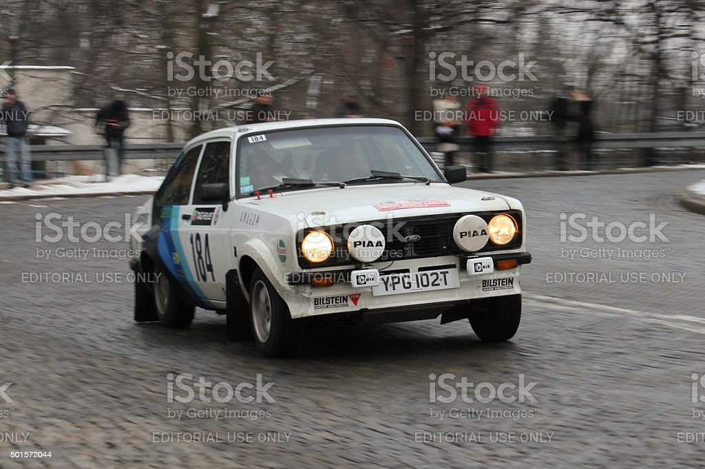 Classic Ford Escort rally car during the rally stock photo