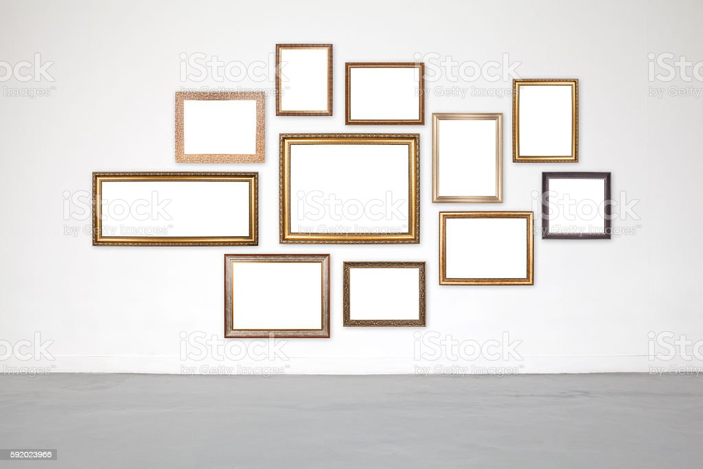 Classic frame on white cement wall in showroom and gallery. stock photo