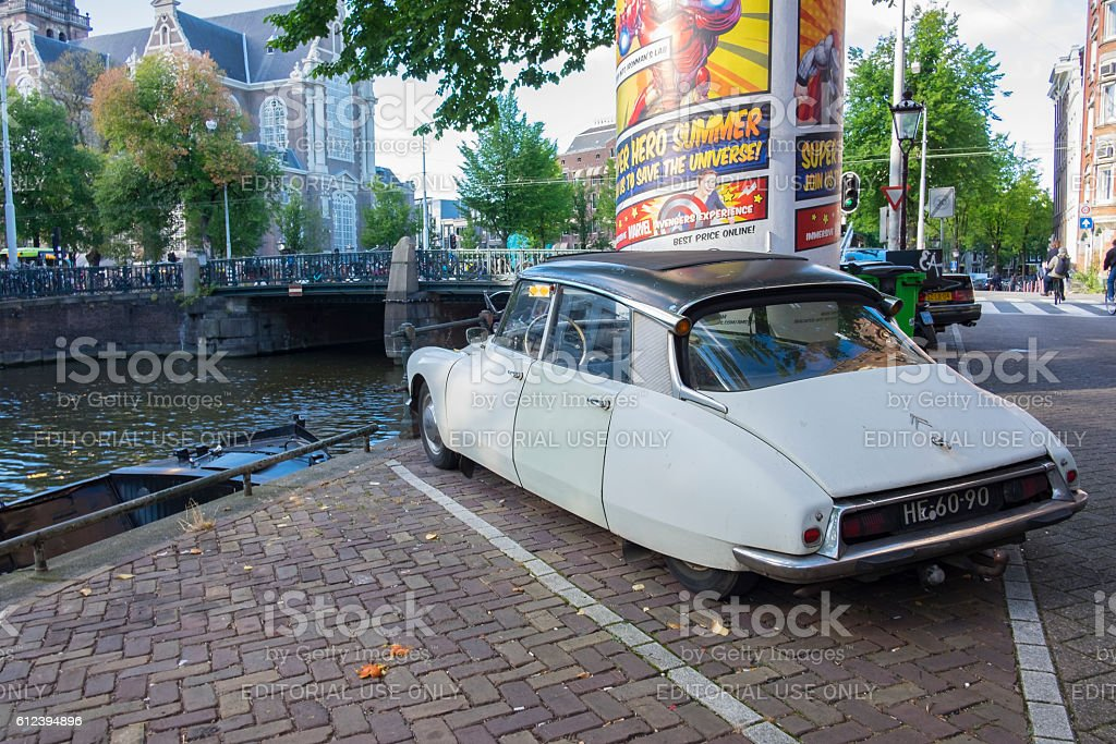 Classic French Citroen DS limousine car in Amsterdam stock photo