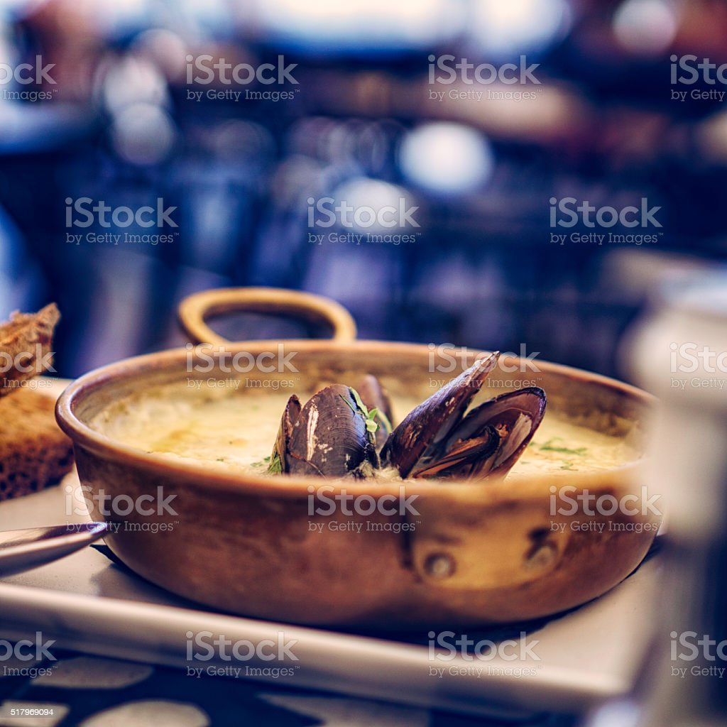Classic French Mussels Fish Dish stock photo