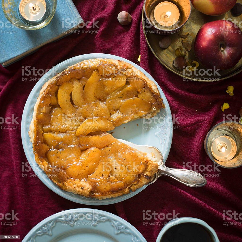 Classic french upside down apple tart Tarte Tatin stock photo