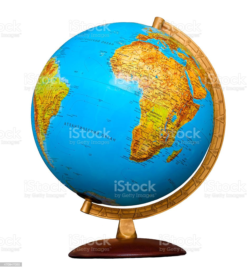classic globe isolated on white background stock photo