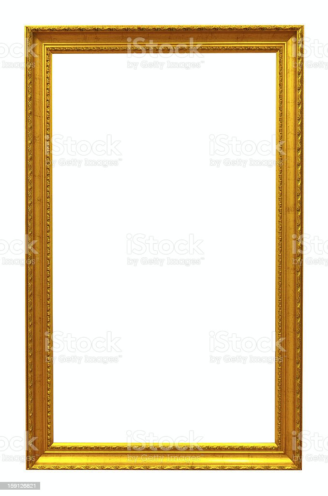 Classic gold frame. Isolated over white royalty-free stock photo