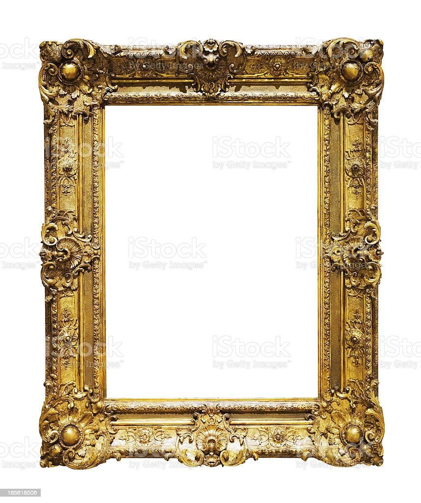 Classic gold frame over white royalty-free stock photo