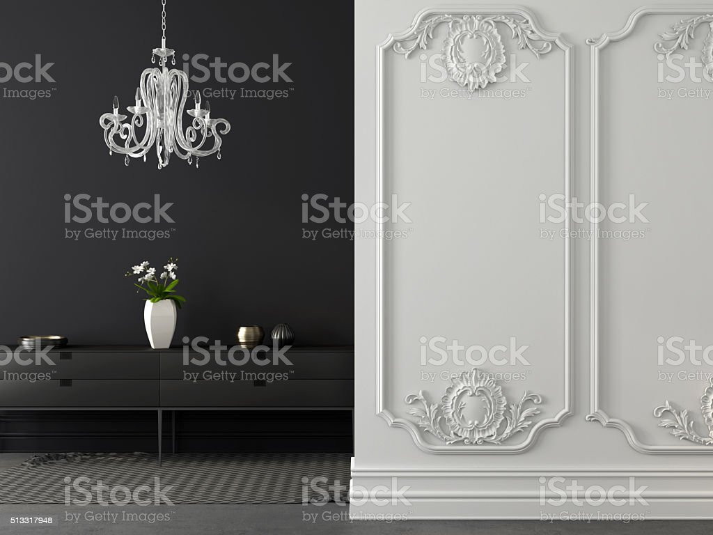 Classic gray and white interior with a chandelier stock photo