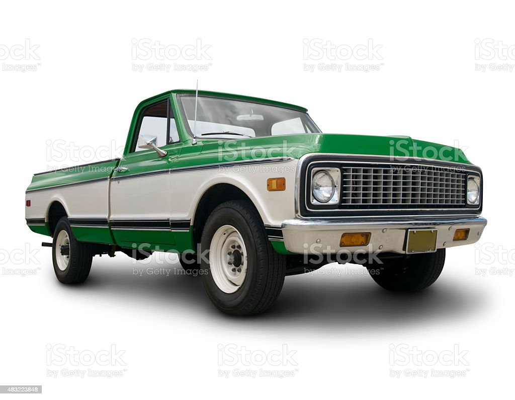Classic Green Pickup Truck stock photo
