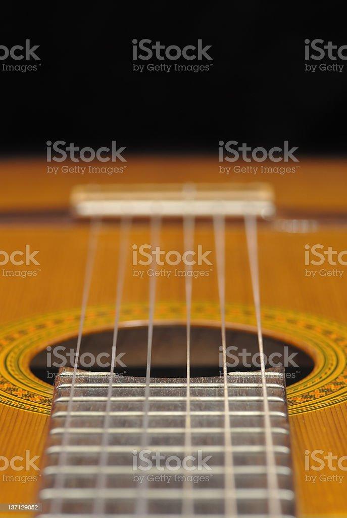 Classic Guitar (Spanish), black background. stock photo
