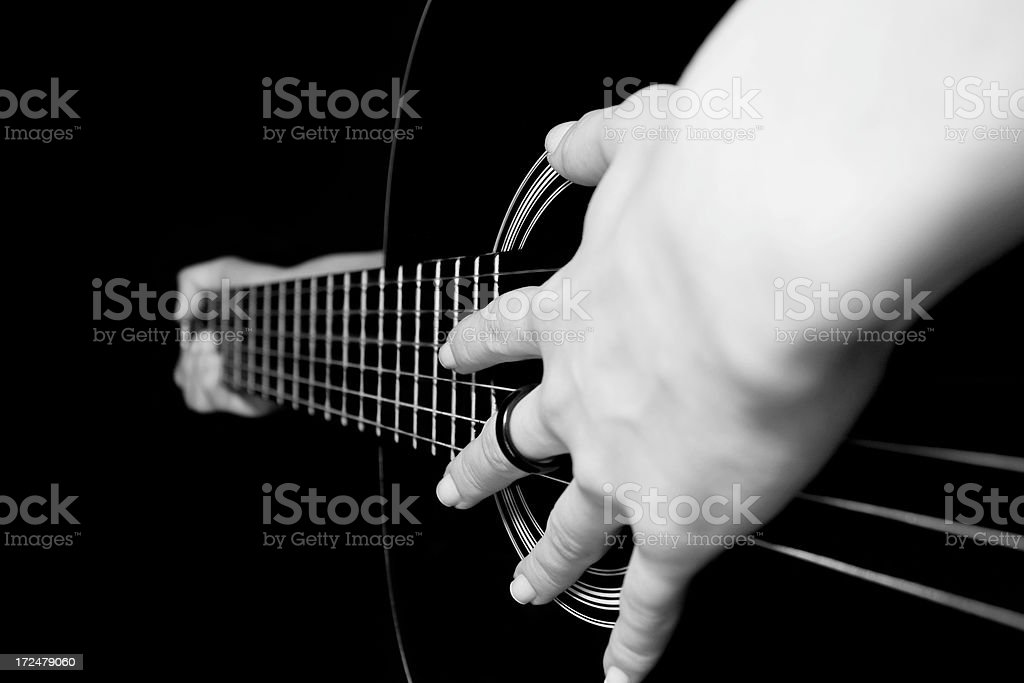 classic guitar-playing hands royalty-free stock photo