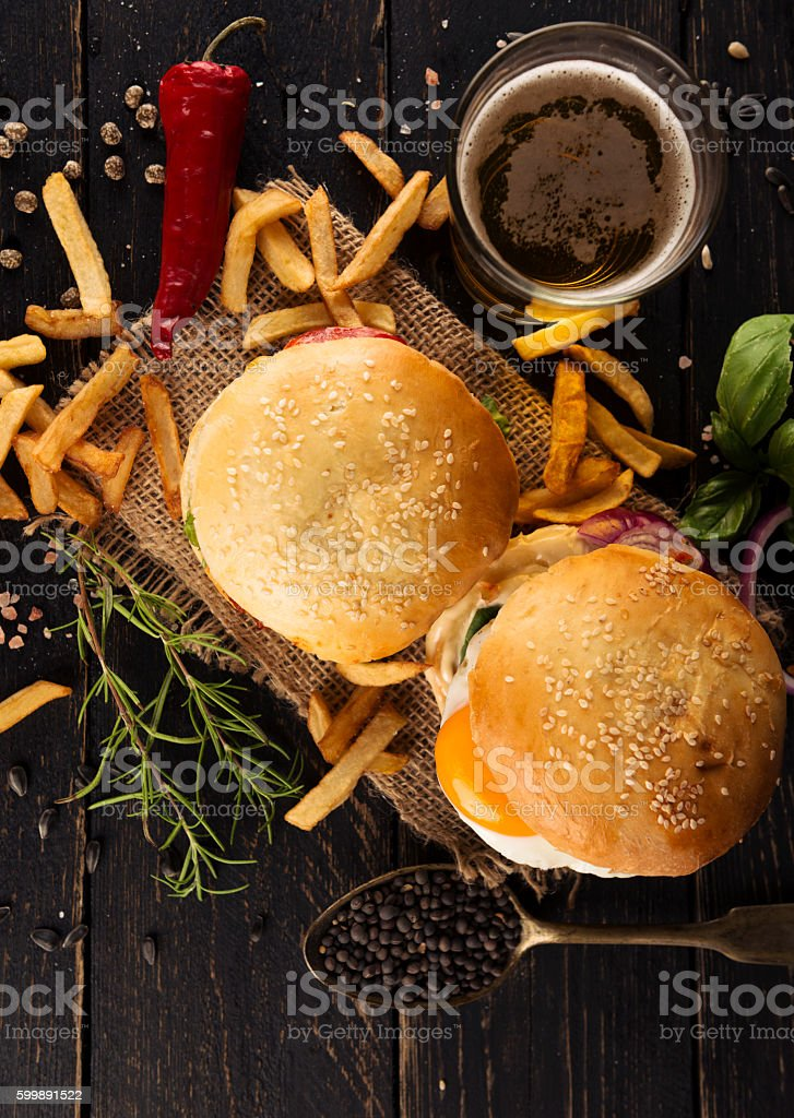 Classic Hamburgers stock photo