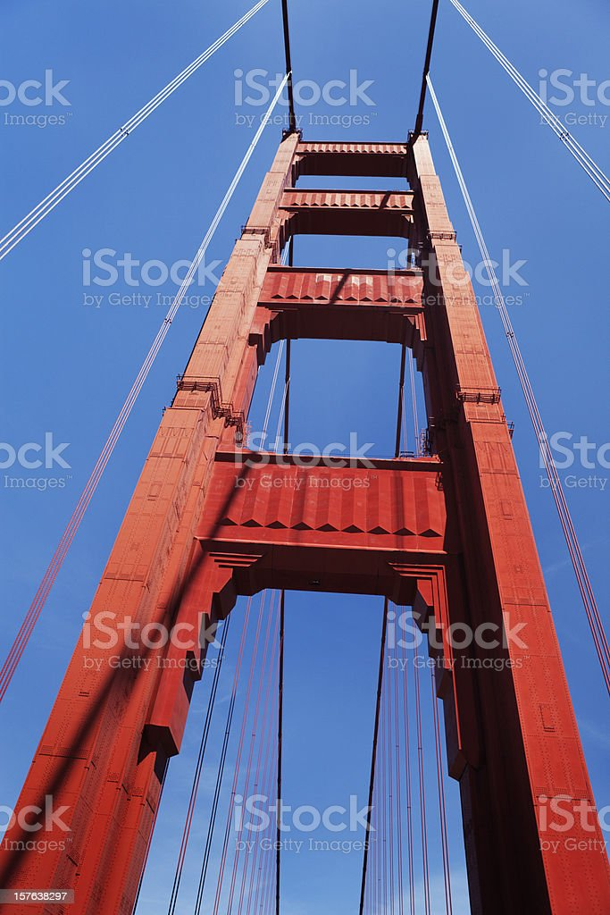 Classic high-angle view of the Golden Gate Bridge north tower royalty-free stock photo