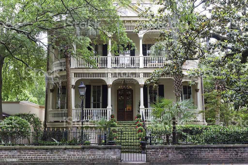 Classic Home in Historic Savannah, Georgia stock photo