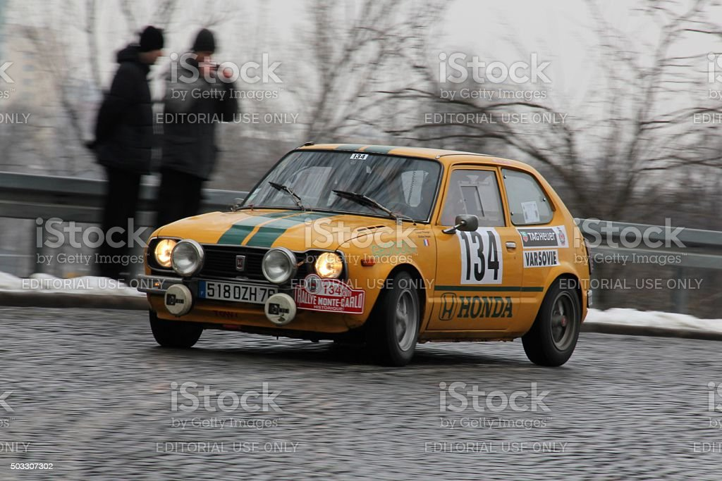 Classic Honda Civic rally car during the rally stock photo