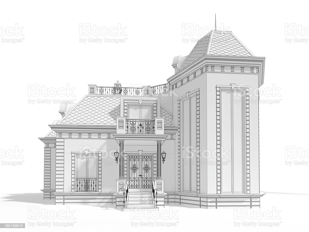 3D classic house model illustrated,front view royalty-free stock photo