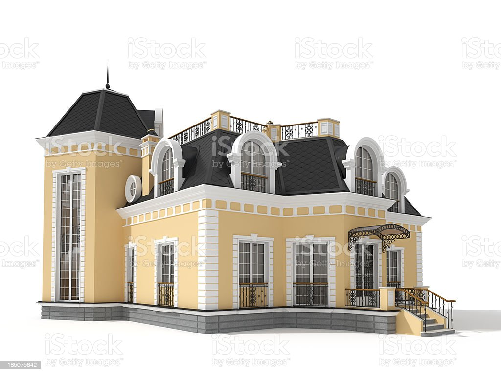 3D classic house,side view isolated on white royalty-free stock photo