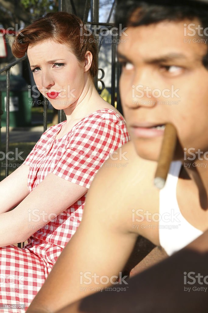 Classic Housewife Upset at Husband with Cigar royalty-free stock photo
