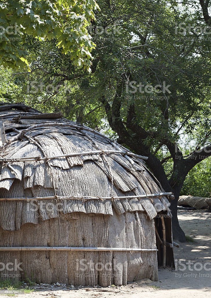 Classic hut used by the native American Wampanoag tribe stock photo