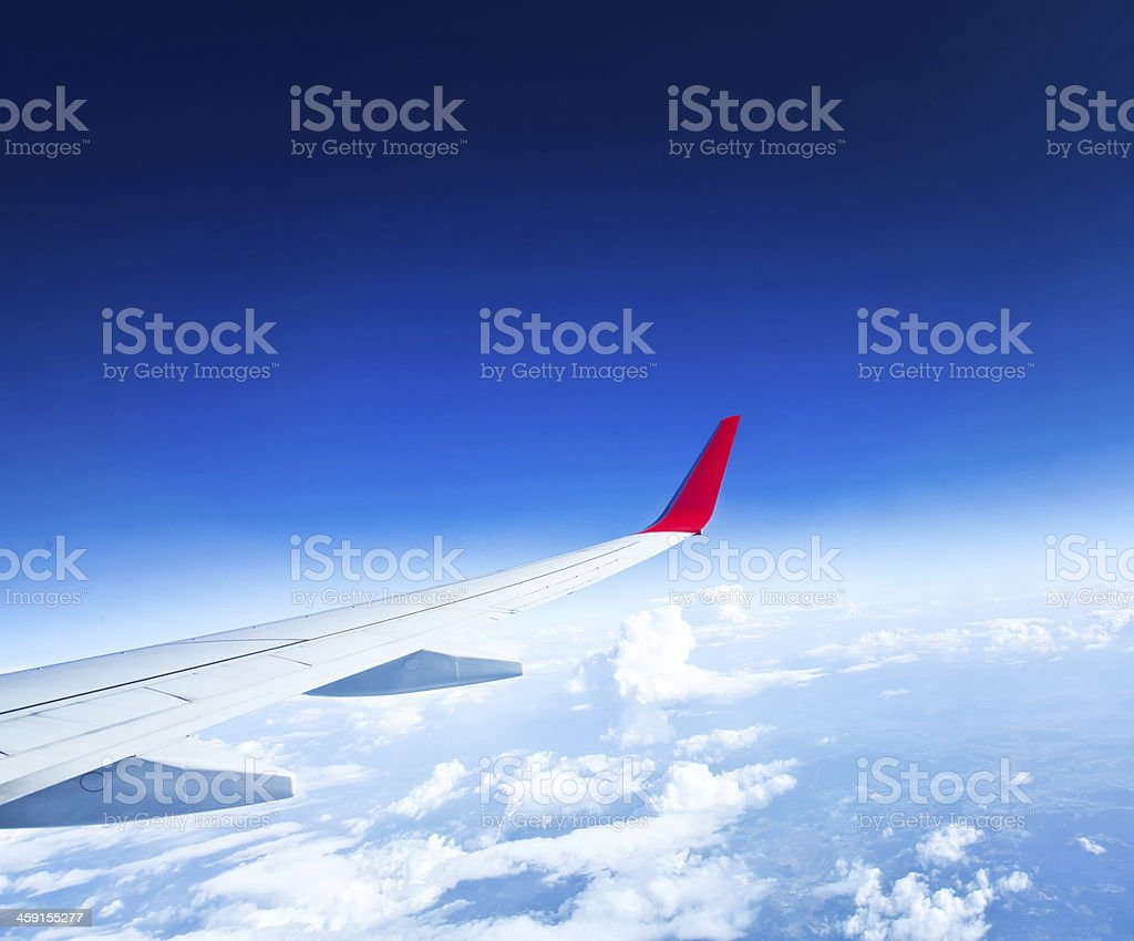 Classic image through aircraft window onto jet engine royalty-free stock photo