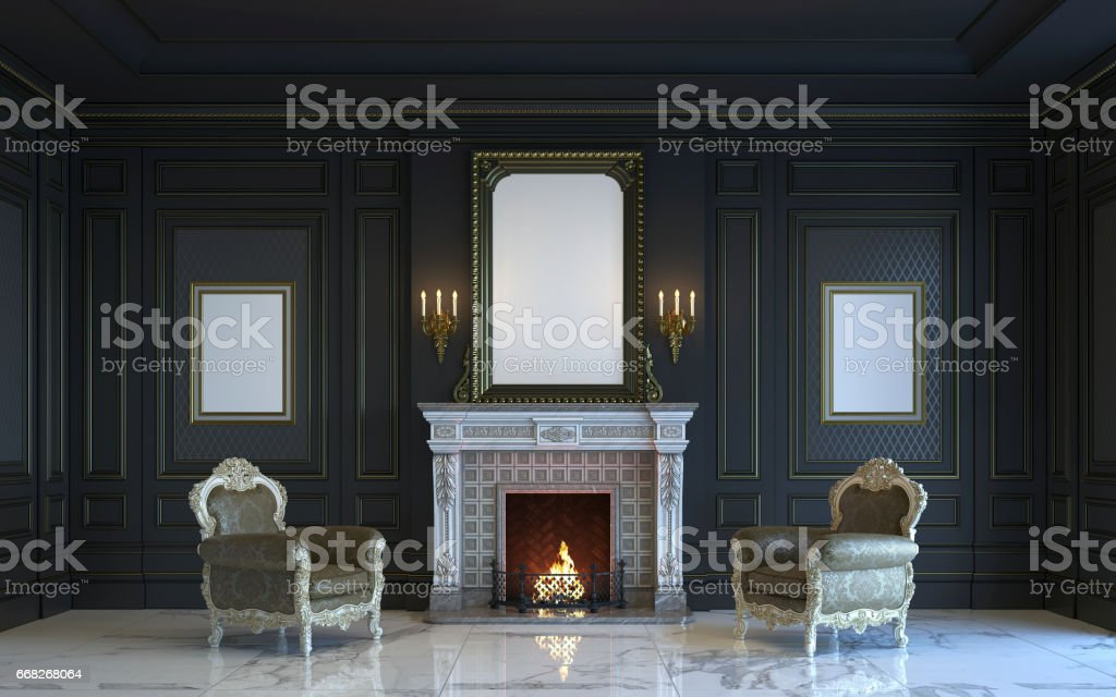 A classic interior is in dark tones with fireplace. 3d rendering. stock photo