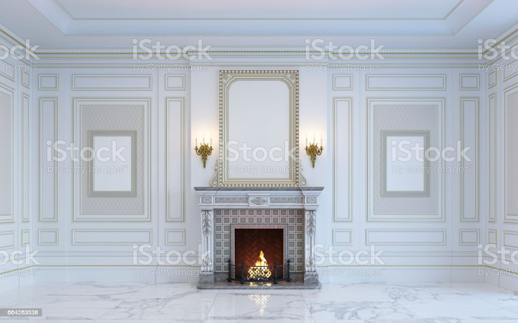 A classic interior is in light tones with fireplace. 3d rendering. stock photo