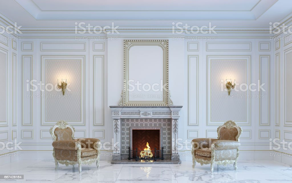 A classic interior is in light tones with fireplace . 3d rendering. stock photo