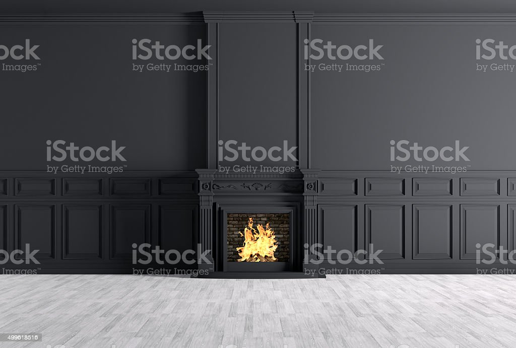 Classic interior of room with fireplace 3d rendering stock photo