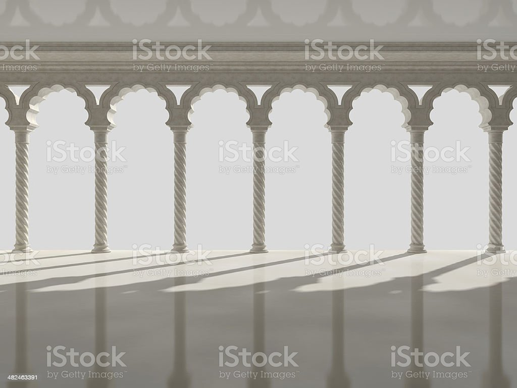 Classic interior with arches and columns royalty-free stock photo