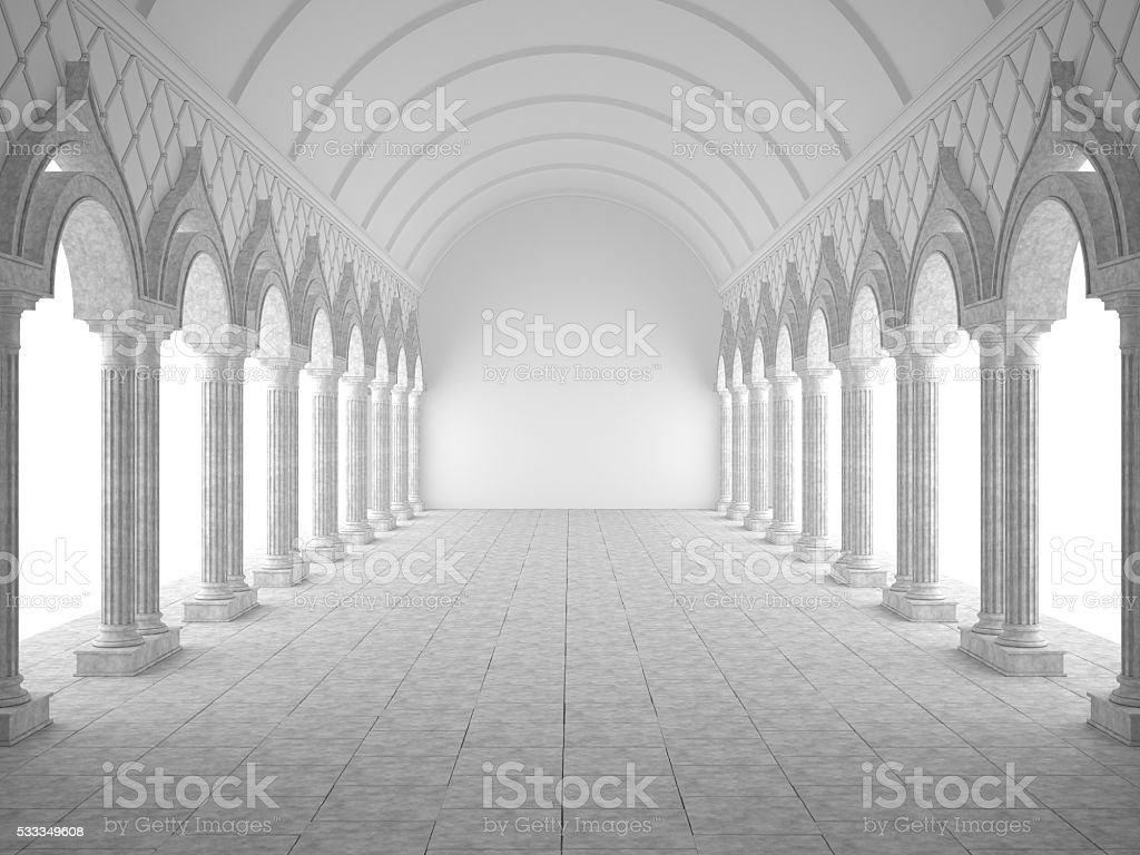 Classic interior with arches and columns stock photo