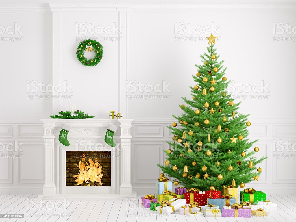 Classic interior with christmas tree and fireplace 3d rendering stock photo