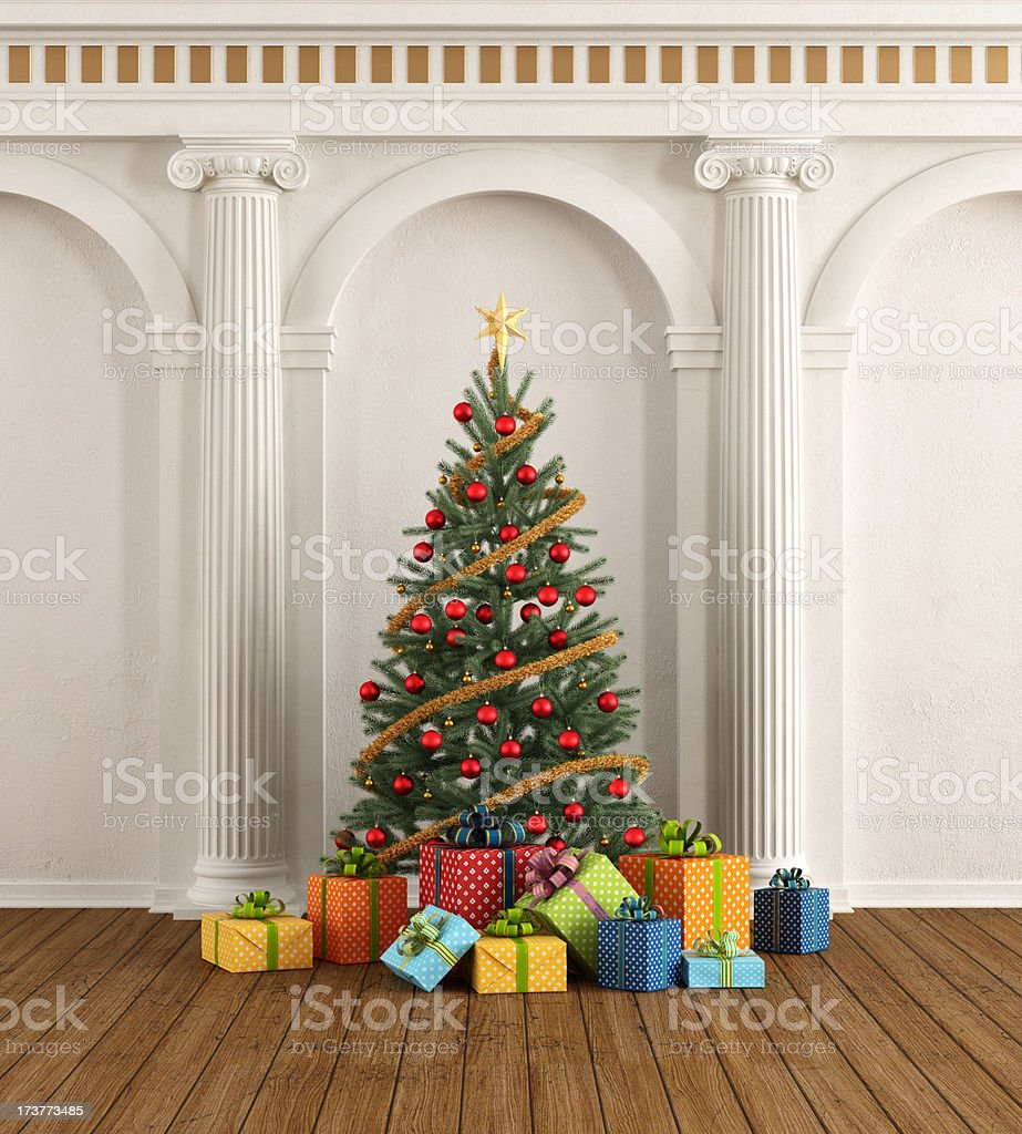 Classic interior with christmas tree and ionic column stock photo