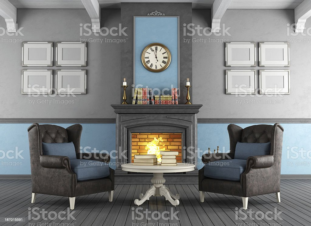 Classic interior with fireplace royalty-free stock photo