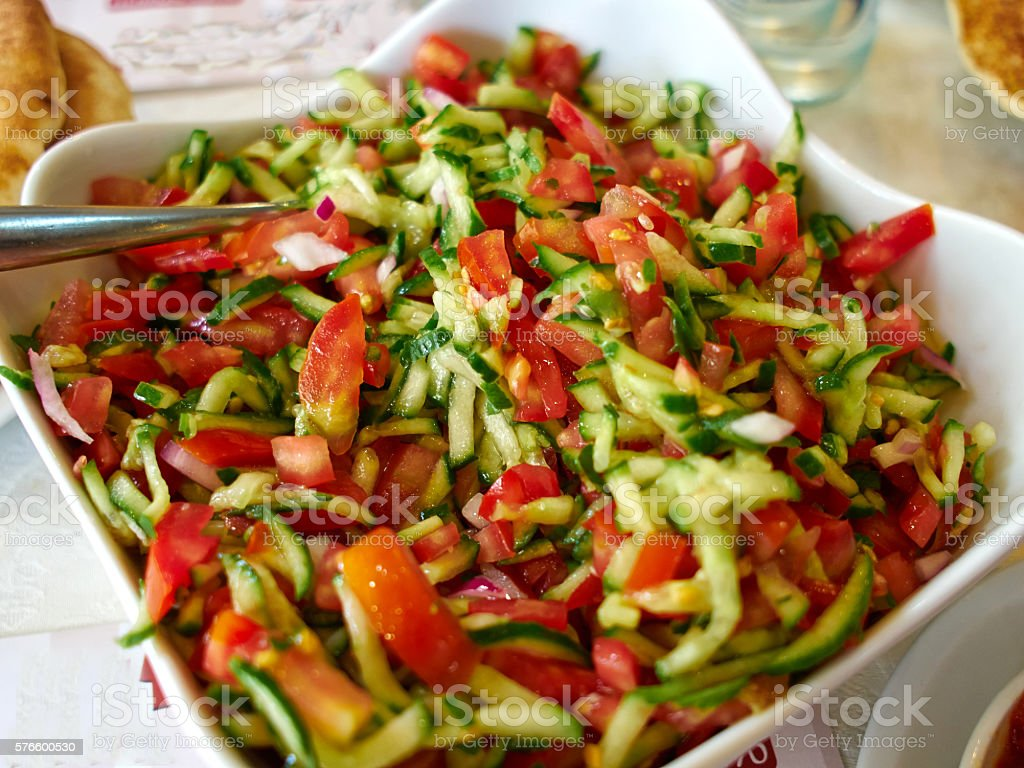 Classic Israeli salad stock photo