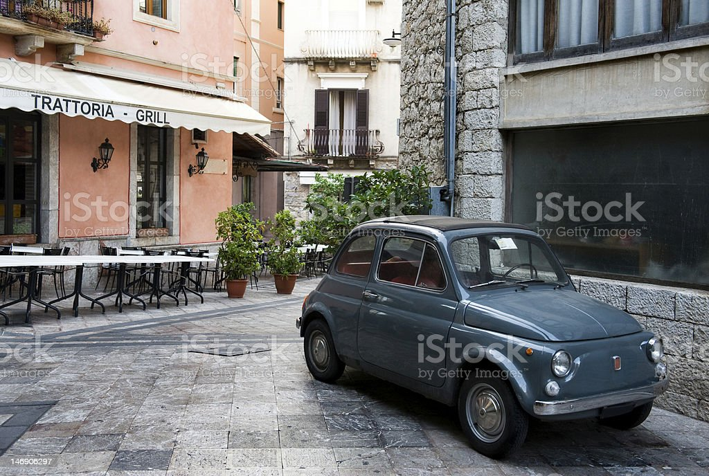 Classic Italian car in Plaza stock photo