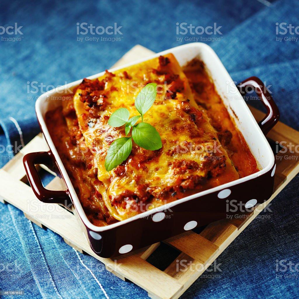 Classic Italian lasagna served on square plate stock photo