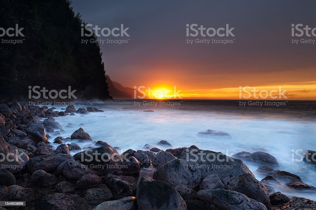 Classic Ke'e beach sunset on the island of Kauai. royalty-free stock photo