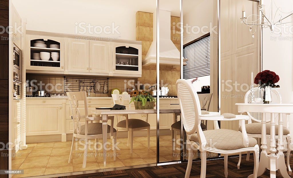 Classic kitchen and dinning room. Concept. 3D Model. royalty-free stock photo