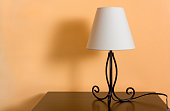 Classic Lamp on a Wooden Bedside Table