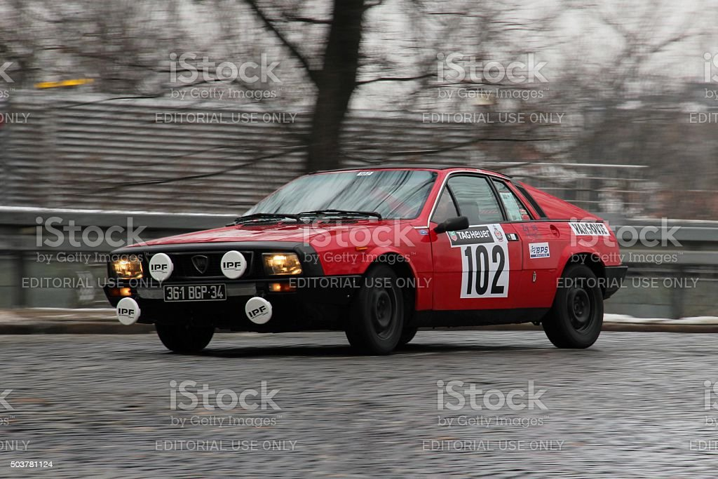 Classic Lancia Beta Montecarlo rally car during the rally stock photo