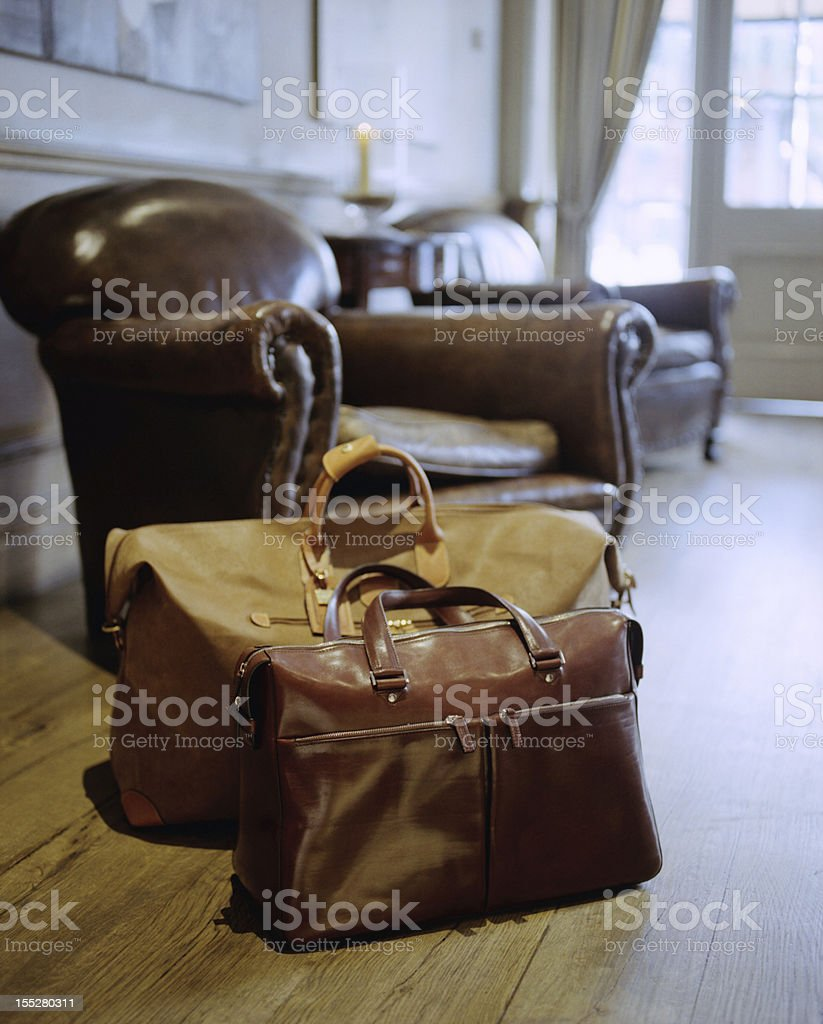 Classic Leather Luggage in the Hotel reception stock photo