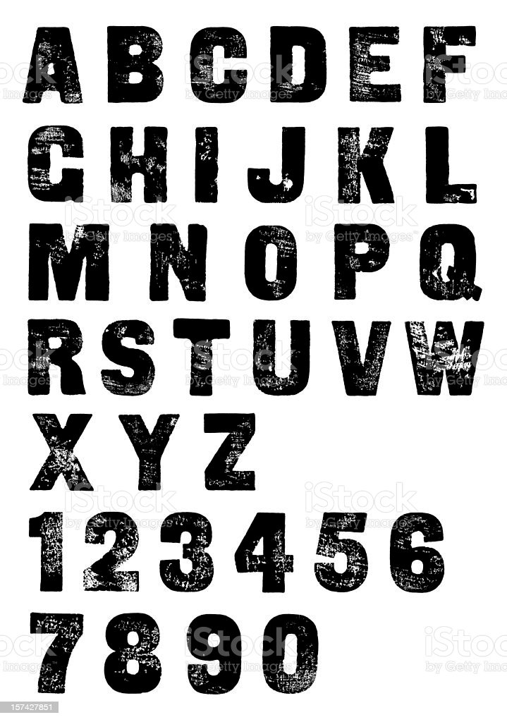 Classic Letterpress Poster Font - Hand Printed Alphabet and Numbers stock photo