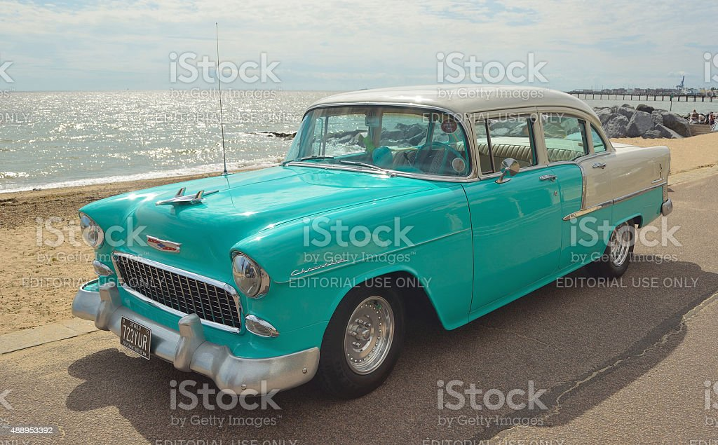 Classic Light Blue and white Chevrolet stock photo