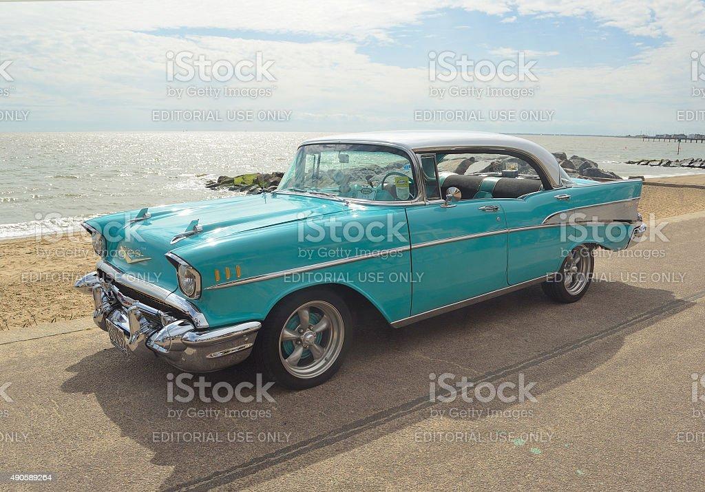 Classic Light Blue Chevrolet Belair stock photo